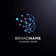 Head Human Smart Technology Logo Vector, Brain Human Artificial Logo Type, Icon Vector, Smart Tech Logo Vector