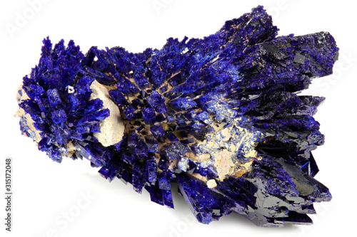azurite crystal cluster from Kerrouchen, Morocco isolated on white background Wallpaper Mural