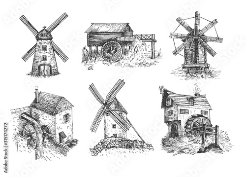 Rural traditional mills collection Poster Mural XXL