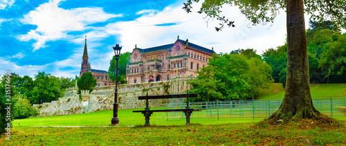 Palace Sobrellano, Comillas, Cantabria, Spain.Scenic historic architecture.Cantabria and Santander tourism landmark.Comillas palace. Spain travel.