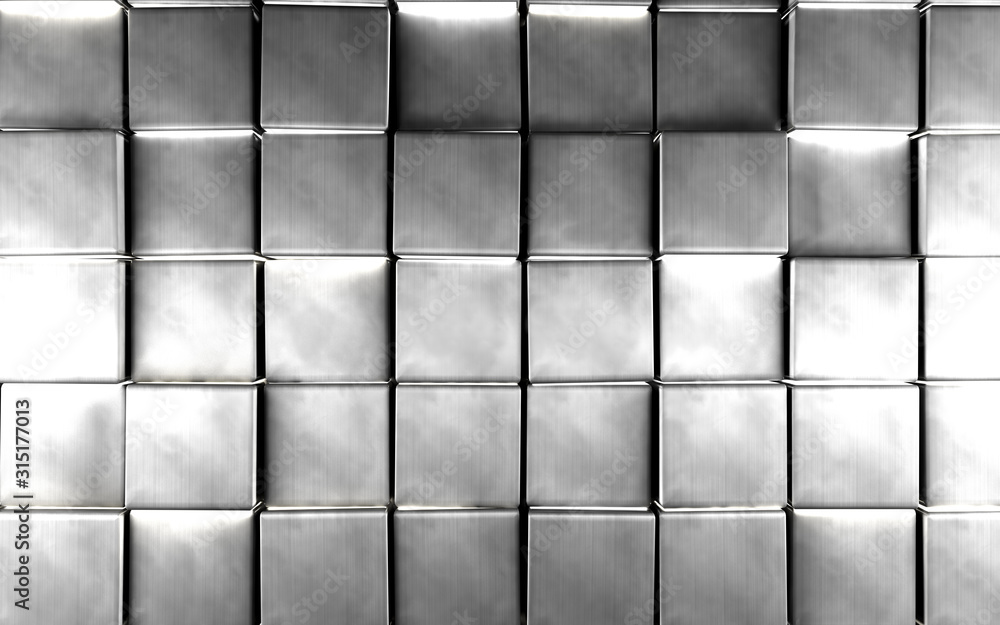 Fototapeta Abstract silver color background.Luxurious and elegant background with bright silver cubes or blocks.3d illustration - obraz na płótnie