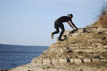 Male Runner Running On A Mount...