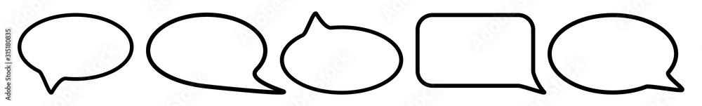 Fototapeta Speech Bubble Balloon Icon Black | Blank Shape Bubbles | Communication Symbol | Message Logo | Cartoon Sign | Isolated | Variations