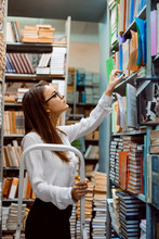 Young Attractive Female Librarian Worker Standing On The Ladder Checking Books, Their Condition And Presence