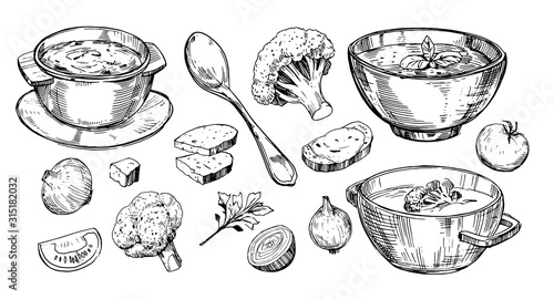 Tablou Canvas Vegetable soup. Hand drawn illustration converted to vector