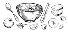 Vegetable Soup. Hand Drawn Ill...