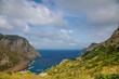 Landscape of rocky coast before a storm under gloomy dramatic sky