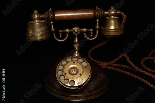 Fotografie, Obraz Vecchio Telefono in legno.