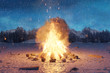 canvas print picture 3d rendering of big bonfire with sparks and particles on snowy ground