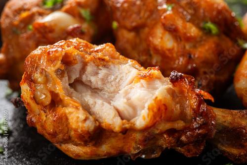 Bitten roasted chicken drumstick