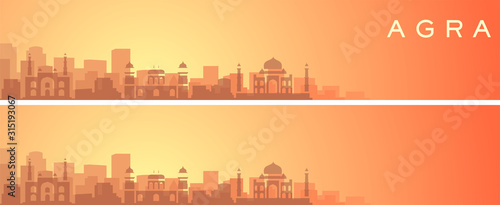 Agra Beautiful Skyline Scenery Banner Wallpaper Mural