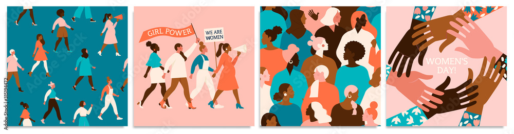 Fototapeta Set of vector illusttation. 8 march, International Womens Day. Feminism concept design. Vector templates for card, poster, flyer and other users.