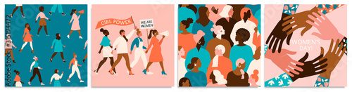 Set of vector illusttation. 8 march, International Womens Day. Feminism concept design. Vector templates for card, poster, flyer and other users.