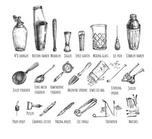 Set Bartender Equipment And To...