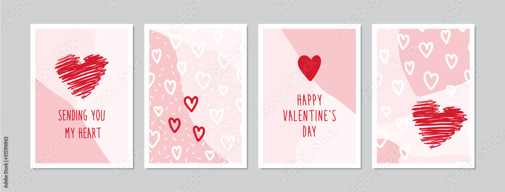 Fototapeta Valentine`s Day cards set with hand drawn hearts. Doodles and sketches vector vintage illustrations, DIN A6.