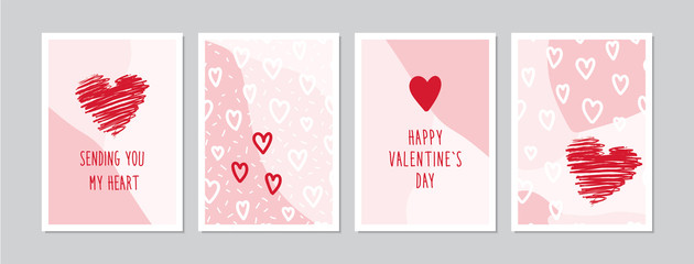 Valentine`s Day cards set with hand drawn hearts. Doodles and sketches vector vintage illustrations, DIN A6.
