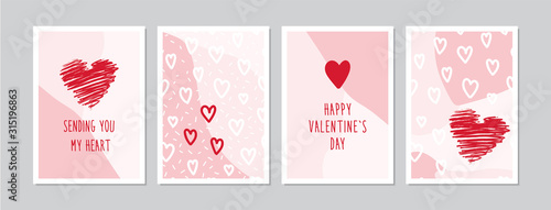 Fototapeta Valentine`s Day cards set with hand drawn hearts. Doodles and sketches vector vintage illustrations, DIN A6. obraz