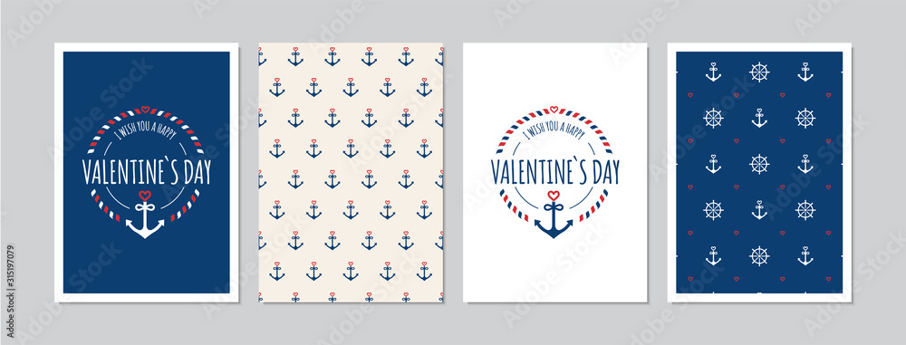 Fototapeta Valentine`s Day cards set with hand drawn elements in maritime look. Doodles and sketches vector vintage illustrations, DIN A6.