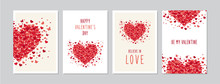 Valentine`s Day Cards Set With Hand Drawn Hearts Design. Doodles And Sketches Vector Vintage Illustrations, DIN A6.