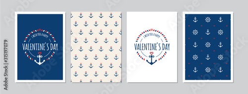 Obraz Valentine`s Day cards set with hand drawn elements in maritime look. Doodles and sketches vector vintage illustrations, DIN A6. - fototapety do salonu