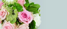 Mothers Day Flowers. Background Or Banner With Bouquet Of Flowers