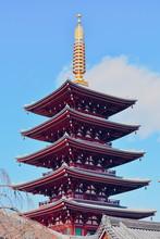 The Five-story Pagoda At Asakusa Temple In Tokyo, Japan.