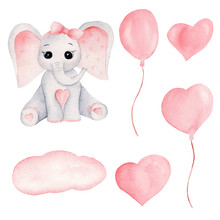 Baby Elephant And Pink Balloon...