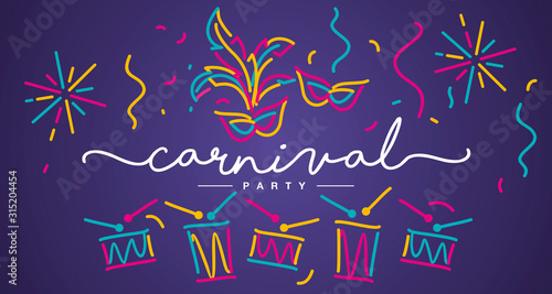 Carnival Party 2020 handwritten typography colorful line design carnival element Canvas Print