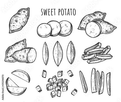 Cutting slicing sweet potato set