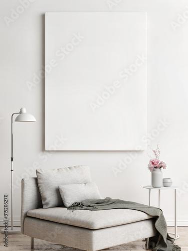 Obraz Mock up poster, Scandinavian interior design, 3d render, 3d illustration - fototapety do salonu