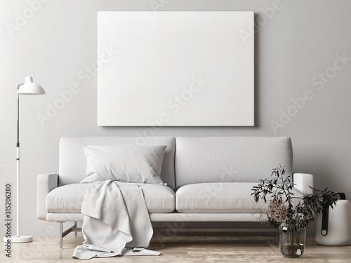 Fototapeta Mock up poster, Scandinavian interior design, 3d render, 3d illustration obraz