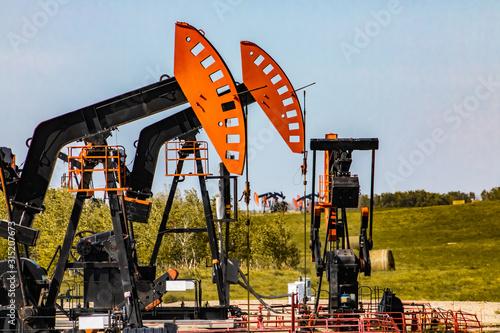 Fototapeta An onshore oil mining farm is seen in Alberta, Canada. Closeup details of nodding horse head, samson post, pitman arm, counterweight and gear reducer obraz