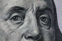 Benjamin Franklin's Look On A Hundred Dollar Bill. United States 100 Dollar Bill. One Hundred American Dollars. 100 $.