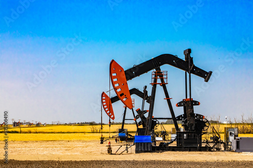 Fototapeta Late summer view of two modern oil wells with working nodding heads, against a background of golden crop fields and vibrant blue sky. Copy space to left obraz
