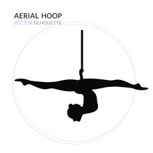 Silhouettes Of A Gymnast In The Aerial Hoop. Vector Illustration On White Background. Air Gymnastics Concept