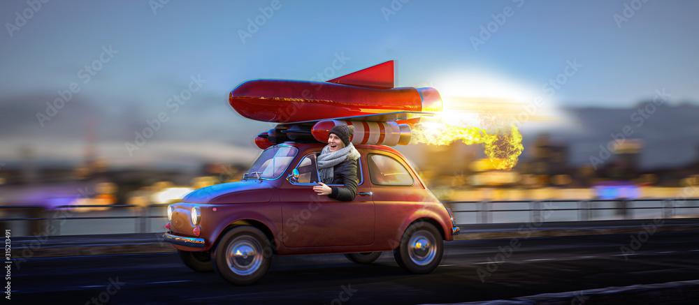 Fototapeta Auf der Überholspur - Rotes Raketenauto mit Frau am Steuer