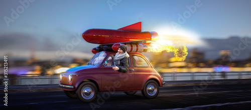 Fotografie, Obraz Auf der Überholspur - Rotes Raketenauto mit Frau am Steuer