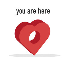 3D Location Marker In Shape Of Heart With Text You Are Here