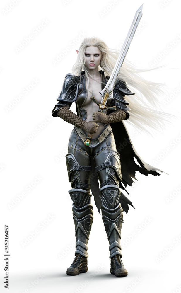 Fototapeta Portrait of a fantasy heavily armored sexy dark elf female warrior with white long hair and equipped with a sword . 3d rendering. Fantasy illustration on an white background