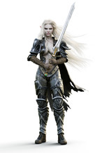Portrait Of A Fantasy Heavily Armored Sexy Dark Elf Female Warrior With White Long Hair And Equipped With A Sword . 3d Rendering. Fantasy Illustration On An White Background