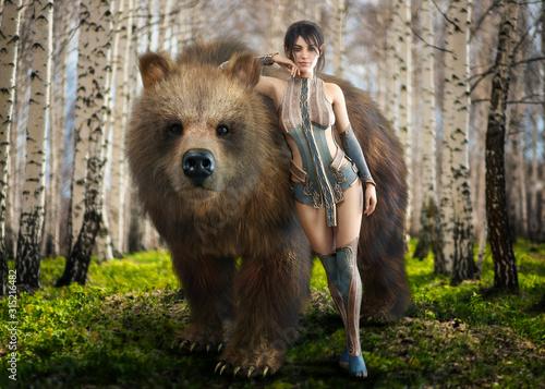 Fototapeta premium Portret fantastycznej, eleganckiej ciemnowłosej druidki oddanej naturze, pozującej ze swoim ukochanym oswojonym niedźwiedziem brunatnym. Renderowanie 3d