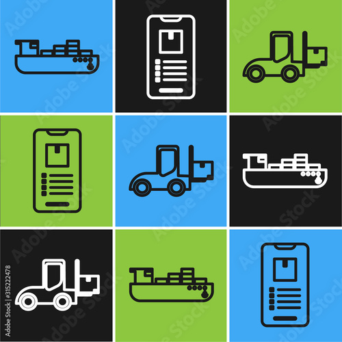 Fototapety, obrazy: Set line Cargo ship with boxes delivery service , Forklift truck and Mobile phone with app delivery tracking icon. Vector