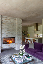 Modern Living Room With Cozy F...