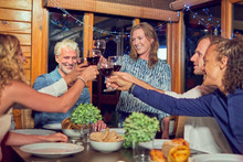 Friends Celebrating, Drinking ...
