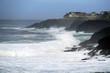 Heavy seas crash on rocks