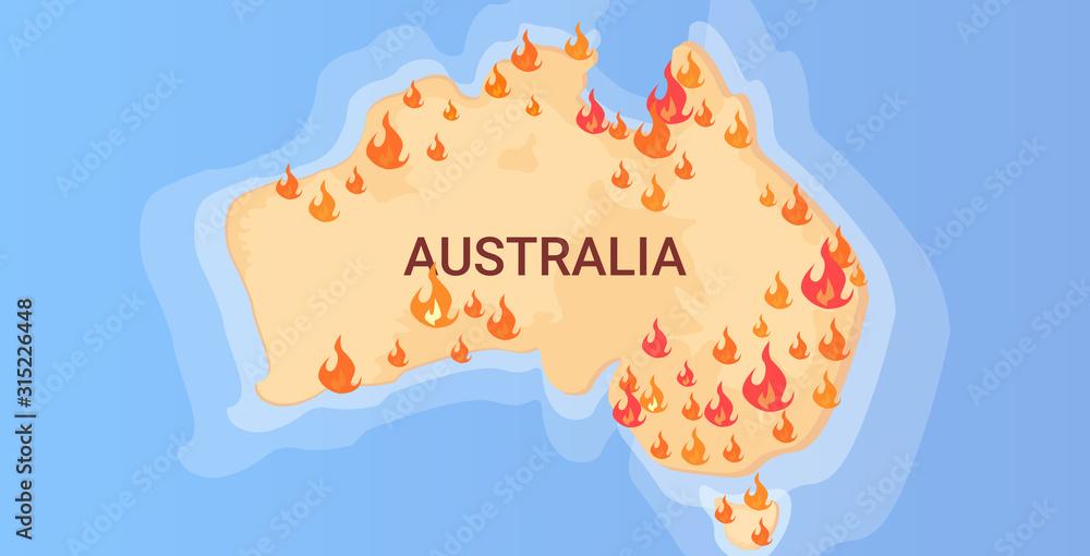 Fototapeta map of Australia with symbols of bushfires seasonal wildfires dry woods burning global warming natural disaster concept flat horizontal vector illustration
