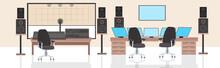 Record Producer Audio Engineer Workplace No People Recording Studio Interior Horizontal Vector Illustration