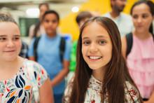 Portrait Confident, Smiling Junior High Girl Student