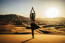 Serene Woman Standing In Yoga ...