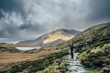 Man On Stone Path Among Remote...